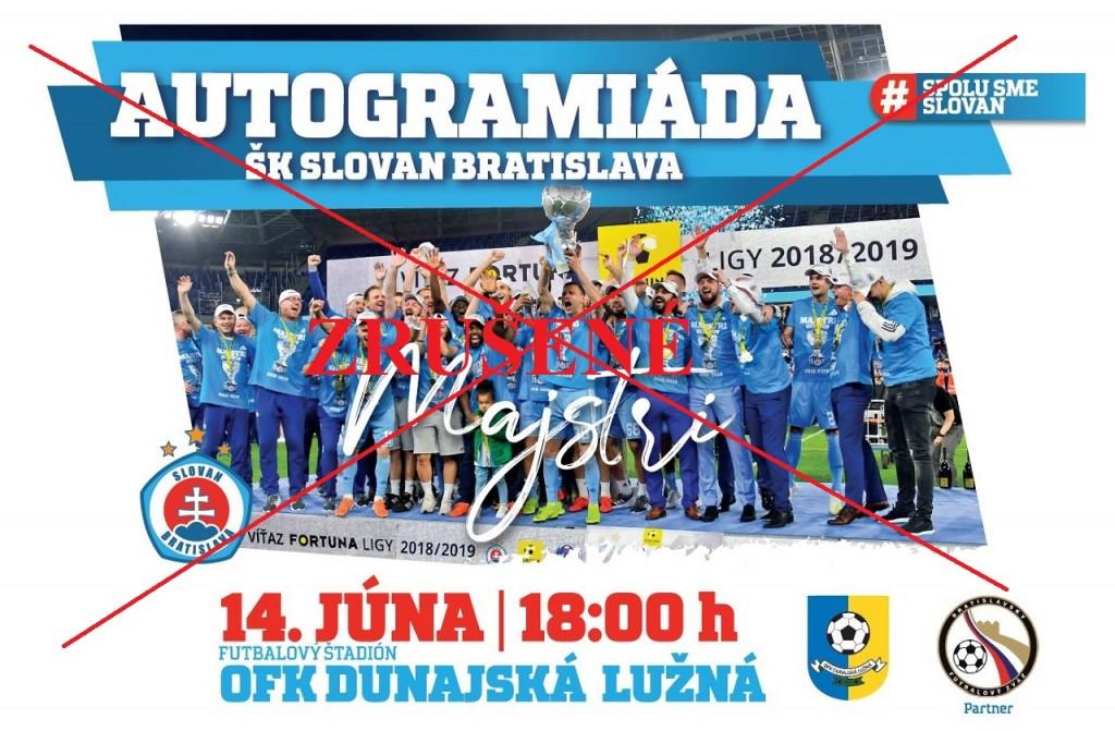 Slovan Autogramiáda 14062019 zrušené